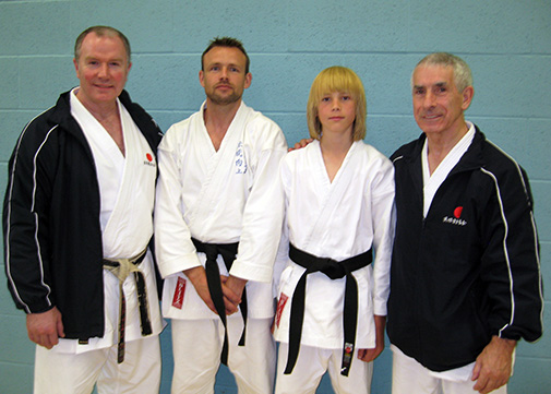 Left to right: Sensei Brennan, Jim Mateer, Aaron Mateer, Sensei Sherry